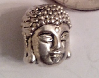 4pcs Antique Silver Buddha Head Charms  - 4 Pieces