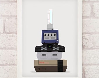 Gaming Evolution - A3, 11x14, A4, 8x10, Vector, Gaming Print, Geek, Nerd, Gaming, Gift for Him or Her, Retro Gaming