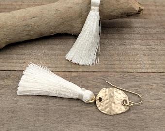 Gold disk, tassel earrings