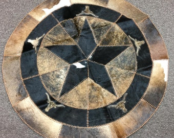 40 Inch Cowhide Star/Longhorn Patchwork Area Round Rug / FREE SHIPPING