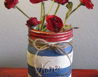Red, White & Blue Stripe Mason Jar, 1 Quart - Painted and Distressed
