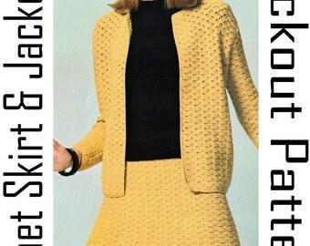 PDF Crochet Two Piece Suit, Womens Crochet Cardigan Pattern, Womens Crochet Skirt Pattern, Vintage Crochet Patterns, 60s vintage patterns