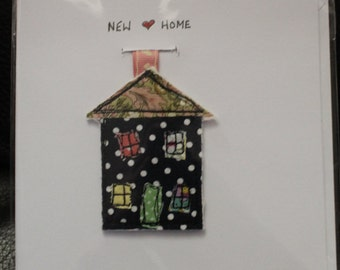 New Home Card with handmade freehand machine embroidered house keyring attached - ideal card and gift in one