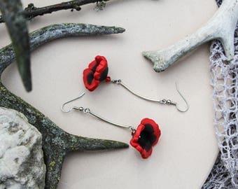 FREE SHIPPING Poppy earrings Flower earrings Bud earrings Floral earrings Statement earrings Romantic jewelry Polymer jewelry Gift for her