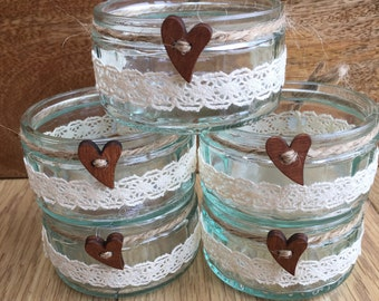 5 Handmade glass centre piece tea light holders - lace twine vintage shabby chic rustic wedding