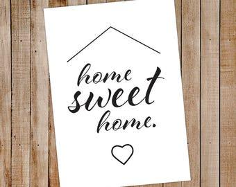 A4 Wall Print home sweet home - A4 Wall Print - A4 Print - home wall prints - Adult wall print- A4 Sign adults - home decor