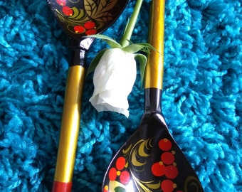Vintage Pair Of Decorative Wooden Spoons