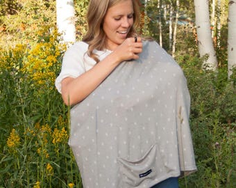Gray Chevron Arrows Multi-Use Nursing Cover with Front Pocket