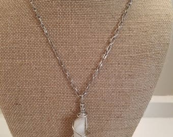 Wrapped Crystal Pendant Necklace