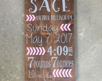 Custom Birth Announcement Wood Sign | Personalized Birth Stats Sign | Baby Gift | Birth Sign | Baby Announcement | Nursery Arrow Decor