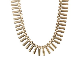Matt Gold Fan Chain Necklace