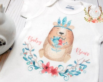 Baby Bear Onesie®, Girl Boho Onesie, Boho Baby Clothes, Girls Baby Shower Gift, Cute Baby Clothes, Hipster Take Home Outfit, Bee & Bubba