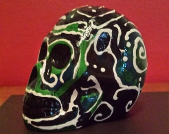 Handpainted Orange Skull