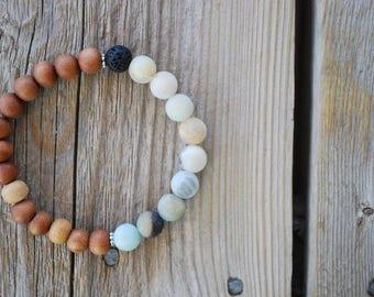 Essential oil diffuser bracelet yoga bracelet mala beads meditation bracelet  yoga jewelry amazonite lava beads sandalwood