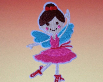 Dancing Pink Fairy Iron On Patch
