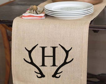 Antler Decor, Table Runner, Monogrammed Table Runner, Rustic Dining Table, Monogrammed Table Linens,  Burlap, Rustic Centerpiece