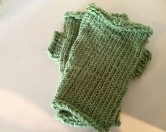 Large Green Fingerless Gloves