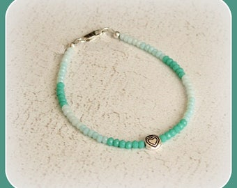 Minimalist bracelet beads faceted Czech crystal silver of law 925 Silver Tibetan tibet chic gift tone pastel green aquamarine aventurine
