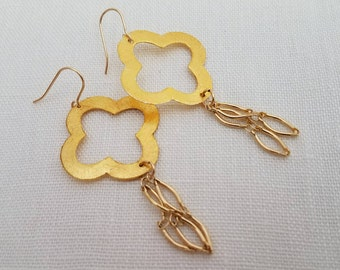 Large Clover Dangle Earrings