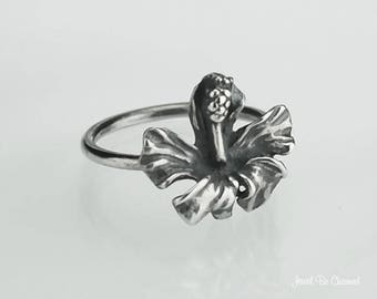 Sterling Silver Hibiscus Ring Solid .925 Tropical Flower Custom Sizes