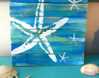Sea Stars Pallet Art, Reclaimed wood art, Starfish art, fence art, Blue and white starfish art, marine wall art, Coastal Decor