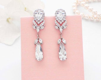 Crystal drop earrings, CZ drop earrings, bridal jewelry, crystal wedding earrings, bridesmaid earrings, wedding jewelry, cubic zirconia
