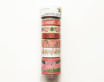 Set of 8 Washi Tapes, Recollections, Watermelon / Flamingo / Summer Theme