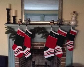 Small Christmas Stockings | Handmade Crochet Stockings | Custom Embroidered Stockings