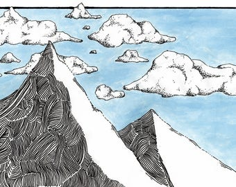 Hand Drawn Mountains - Print.