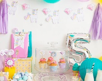 Printable party kit Unicorns and Diamonds