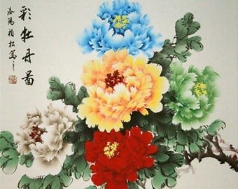 Five Peonies in Different Colors. Chinese Painting. Painted by Original Artist.