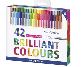 Staedtler Color Pen Set, 334C42 Set of 42 Assorted Colors (Triplus Fineliner Pens) 0.3 mm.