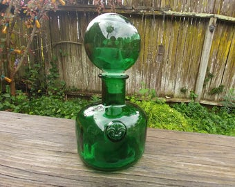 Vintage Green Glass Decanter // Fleur de Lis Wine Bottle // 70's Farmhouse Decor // Wine Bottle