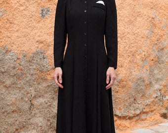 Vintage Black Swing Dress, White collar, Back to School, Zorzeta.