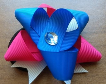 Elastic Flower Pink White Blue Ribbon baby girl hair ponytail ponytail hair elastic pink white blue ribbon