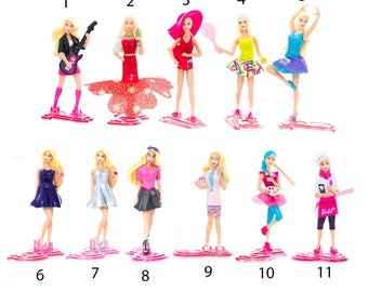 for Girls Barbie doll Mini figures toys party favor birthday cupcake toppers cartoon series holiday miniature, surprise baby Figurine
