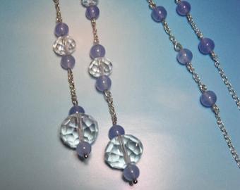 Lavender Crystal Tie Lariat Necklace