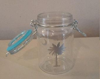 Silver Palm Tree Stash Jar