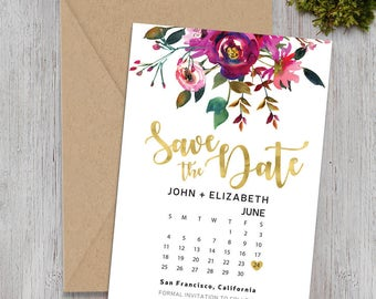 Save-The-Date postcard, Wedding Announcement, Printable Save the Date,  Save The Date Postcard- Watercolor Floral Engagement Card - 5x7 Inch