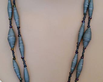 Double stranded, Grey tapered, paper bead an seed bead necklace
