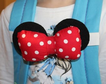 Red and white polka dots Minnie ear Backpack Straps Konnects