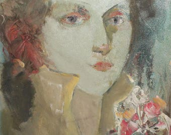 Vintage oil painting expressionist woman portrait