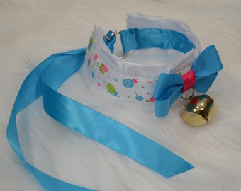 BDSM/DDLG/Kitten Play Collar White with Blue and Pink Lollipops