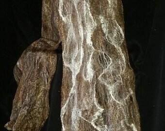 Blended Cobwebs-Handmade wet felted merino and tussah silk cobweb scarf