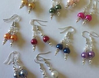 Pearl drop earrings pink earrings green earrings red earrings grey earrings blue earrings purple earrings orange earrings