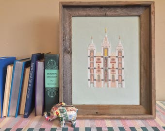Salt Lake City LDS Temple - Modern Cross Stitch Pattern PDF - Instant Download