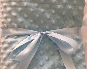 Baby blue and gray minky blanket