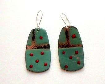 Copper Enamel Earrings, Green Copper Enameled Earrings