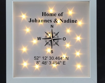 Illuminated picture frame compass, coordinates and name, decorative element, LED frame, wall decoration