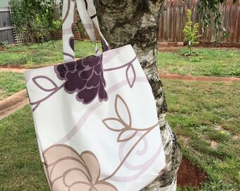 Tote Bag- Purple Flower and Leaves